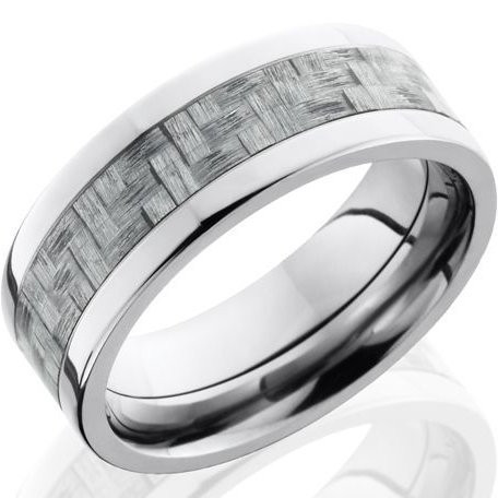 mens titanium wedding ring with texalium carbon fiber inlay - Carbon Fiber Wedding Ring