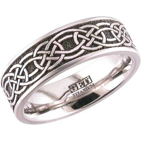 mens laser carved titanium celtic wedding band - Mens Celtic Wedding Rings