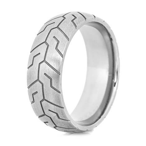 Mens Titanium Tire Tread Ring