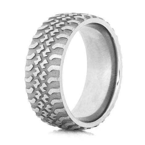 mens titanium tire tread wedding ring - Mud Tire Wedding Rings