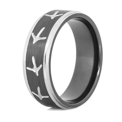 Black Amp Silver Turkey Tracks Ring Unique Titanium Rings