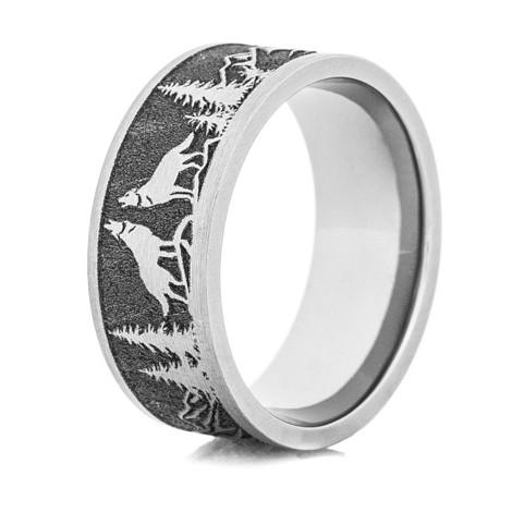 Men S Laser Carved Titanium Wolf Ring Titanium Buzz