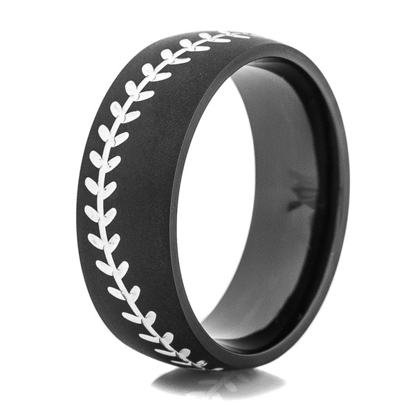 Black Baseball Ring With White Stitching Titanium Buzz