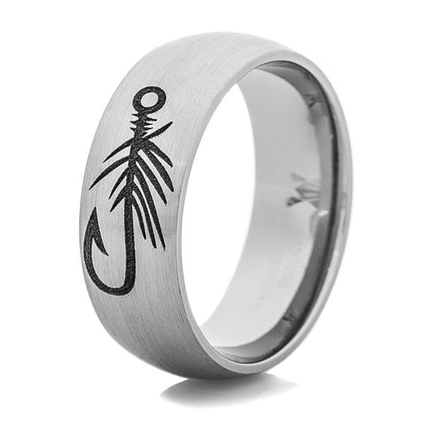 Men 39 s titanium fly hook fishing ring titanium buzz for Fish hook wedding band