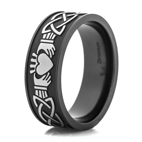 Men S Black And Silver Claddagh Ring Titanium Buzz