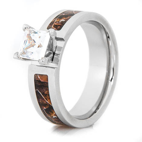 womens cobalt chrome realtree camo princess cut engagement ring - Realtree Wedding Rings