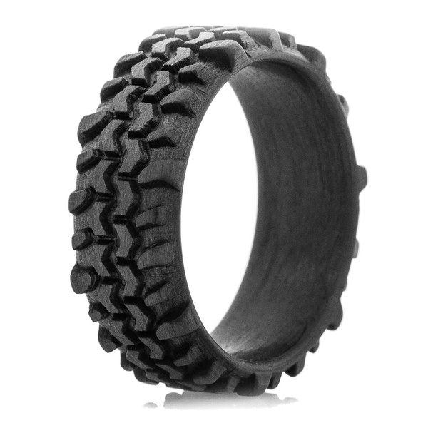 Silicone Wedding Band >> Men's Carbon Fiber Interco TSL Swamper Tread Ring - Titanium Buzz