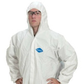 PermaGard Coveralls, White, Zipper Front with Hood & Boots Attached, 25 ea/case | Mfg# 18122