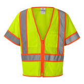 ML Kishigo 1242 Ultra-Cool Polyester Mesh Class 3 Surveyors Vest, Hi-Visibility Lime, Zip Front, 6 Pocket