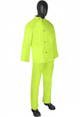 Durawear 1260 Raingear, Hi-Visibility Lime Green, .35 mm PVC/Polyester, Set Includes Jacket with Hood and Bib Overalls