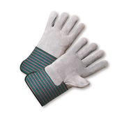 "Durawear Premium Split Cowhide Leather Palm Work Glove, Full Leather Back, 4.5"" Rubberized Gauntlet Cuff"