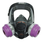 North by Honeywell 7600 Series Silicone Full Face Respirator, Dual Cartridge, Medium/Large