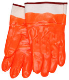 "Fluorescent Orange PVC Coated Glove, Smooth Finish, Foam Insulated, 2 1/2"" Rubberized Safety Cuff 