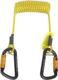 Tool lanyard, coil tether, 5 lb. (2.3 kg) capacity, single leg with self-locking carabiner hooks at both ends.