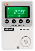 RKI OX-600 O2 Oxygen Gas Monitor, With 10 Meter Remote O2 Sensor, 0-25% Range, 115 VAC | Mfg# 72-1006-10
