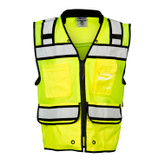 ML Kishigo High Performance Surveyors Safety Vest, ANSI 107 Class 2, Hi-Viz Lime, Zipper Closure, Mfg# S5004