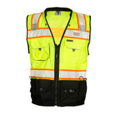 ML Kishigo Premium Black Series Surveyors Safety Vest, ANSI/ISEA 107 Class 2, Hi-Viz Lime, Zipper Closure, Mfg# S5002