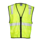 ML Kishigo 6 Pocket Class 2 Zipper Front Safety Vest, Solid Pockets, Hi-Visibility Lime, Mfg# 1191