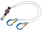 DBI Sala EZ-Stop Leading Edge 100% Tie-Off Cable Shock Absorbing Lanyard, Mfg# 1246178, 6 ft. (1.8m) Cable Double-Leg With Aluminum Snap Hook At Center, Aluminum Locking Rebar Hooks At Leg Ends.