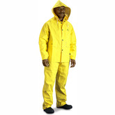 Onguard Sitex 76522 Two-Piece Rainsuit, Set Includes Jacket with Attached Hood and Elastic Waist Pants, Yellow, PVC/Polyester
