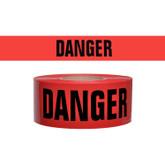 """Barricade Tape, Danger Danger Danger, Red with Black Letters, 2.4 mil, 3"""" x 1000 Ft, Mfg# DT-2"""