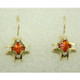 xceptionally lovely 14 karat Yellow Gold custom made Garnet earrings. Set with 2.62cts. of fine Mandarin Garnet flower cut gemstones, custom cut for us by the famed stone cutters in Idar-Oberstein, Germany.    Acented with .26ct. T.W. of Ideal cut Diamonds, and dangling on wires. Measure 1 inch long.  Designed, and created in our studio by the artist Stuart J.