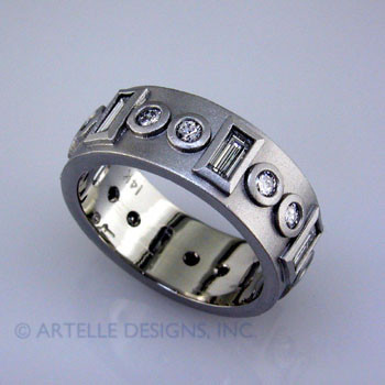 Anniv 18- Custom designed platinum and diamond anniversary ring.
