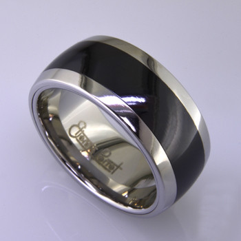 """For the innovative and unique man, this men's ring can be for many occasions. Wear it as a wedding ring, or just a stylish everyday fashion statement ring. This ring is ultra durable for the guy who plays rough. And no charge for re-sizing. This ring is 10mm wide with a slight dome, in polished cobalt chrome, with a 5mm black ceramic inlay, polished to a silky smooth finish. Ring shown is a size 10.5, but call us with your finger size and we will make it just for you. Usually within just a few days.  This ring is hypoallergenic, and environmentally friendly. Made with Gem Ceramique, this ring uses high tech zirconia ceramic, virtually as hard as sapphire. Ultra durable and stylish, versatile and unique. It even has a Lifetime """"Peace of mind"""" warranty against breakage.  Created by award winning jewelry artist Etienne Perret, and made in his studio in Camden, Maine."""