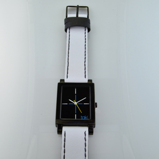 .  Here is time in full color. This Taki watch is fun, fun, fun! Fresh design, fresh color palette, all leather strap, a Japanese movement, and stainless steel bezels. Face measures 1 inch.  Clean simple designs with so many fun colors, it will make you happy every time you wear it. And at a very affordable price