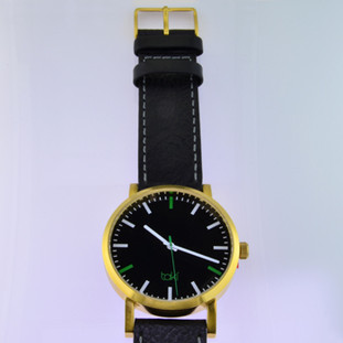 Here is time in full color. This Taki watch is fun, fun, fun! Fresh design, fresh color palette, all leather strap, a Japanese movement, and stainless steel bezels. Face measures 1 3/4 inches.  Clean simple designs with so many fun colors, it will make you happy every time you wear it. And at a very affordable price