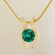 You will be captivated by this modern, elegant 14 karat yellow Gold Chatham created emerald (8mm) and diamond pendant. Framed with .33ct. T.W. of Ideal cut Diamonds, and includes a 1.3mm 14 karat yellow Gold snake chain, 18 inches long.  Designed, and created in our studio by the artist Stuart J.    Chatham Gemstones are also available in Ruby, Sapphire, and Alexandrite.                                                                                                                                                                                                                                                                                                                                                                                  Chatham® Created Gemstones are grown in carefully controlled laboratory conditions. They are chemically and optically identical to their natural counterparts, yet cost much less. Because the environment in which they are grown is controlled, the imperfections often found in natural gemstones, are absent in Chatham® Created Gemstones. Because of this, and superior cutting, Chatham® gems exhibit the color and sparkle of the finest natural gems. Each one comes with a Certificate of Authenticity, and a Lifetime Warranty.