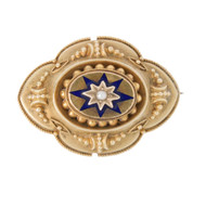 Antique Pearl & Enamel 9ct Gold Memory Brooch