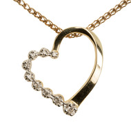 Second Hand Diamond 10ct Gold Heart Pendant