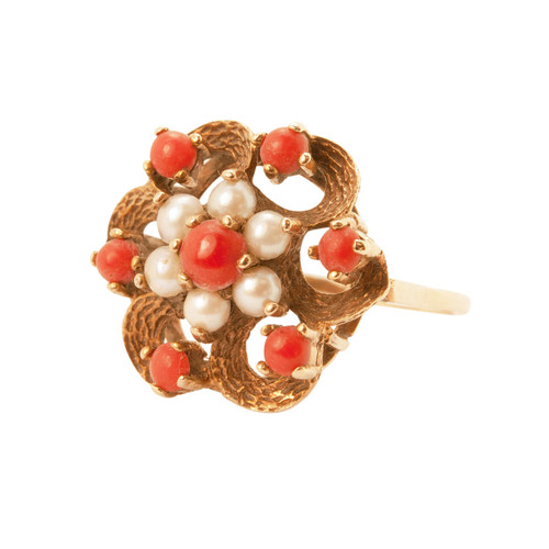 Vintage 9ct Gold Coral and Pearl Dress Ring