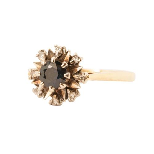 Vintage 18ct Gold Sapphire & Diamond Dress Ring