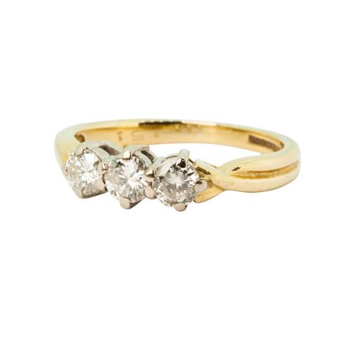 Second Hand 18ct Gold 0.60 Carat Three Stone Diamond Ring