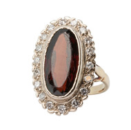 Vintage 18ct Gold Garnet & Diamond Cluster Ring