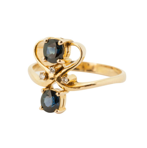 Second Hand 14ct Gold Sapphire & Diamond Up Finger Ring