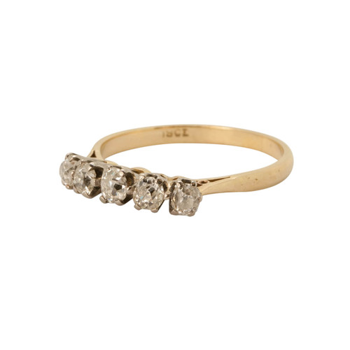 Vintage 18ct Gold 0.50 Carat 5 Stone Diamond Ring