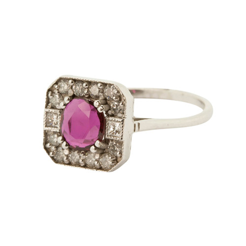 Vintage Style 18ct Gold Ruby & Diamond Ring