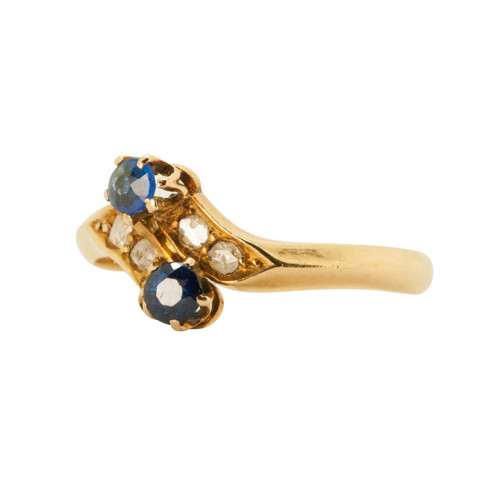 Pre Owned 18ct Gold, Sapphire & Diamond Dress Ring