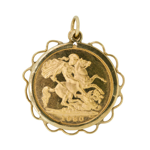 Pre Owned Half Sovereign in a 9ct Gold Pendant Mount