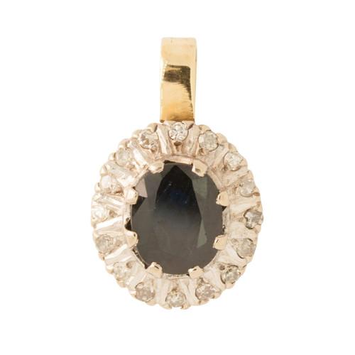 Pre Owned 18ct Gold Sapphire & Diamond Pendant