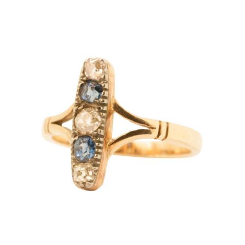Vintage 9ct Gold, Sapphire & Diamond Five Stone Ring