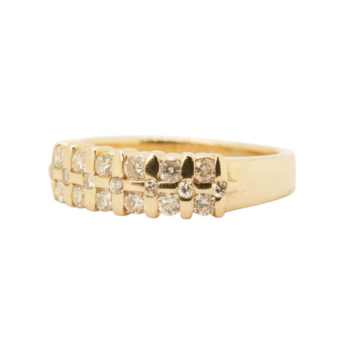 Pre Owned 14ct Gold Diamond Three Row Aria Ring