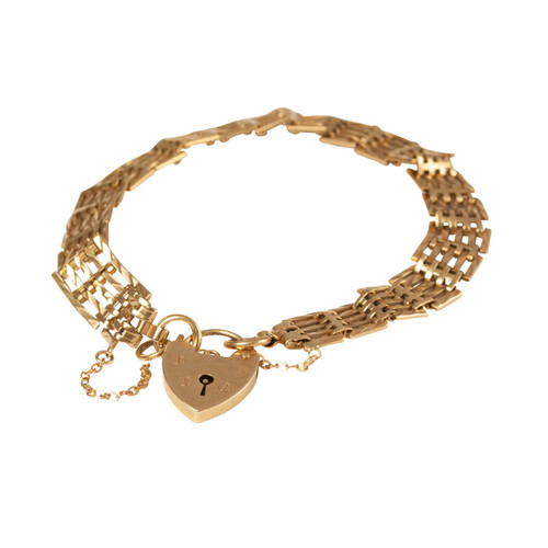 Second Hand 9ct 5 Bar Gate Bracelet with Heart Padlock