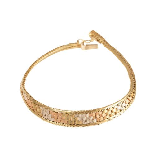 Second Hand 9ct Three Colour Gold Brick Bracelet