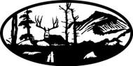 Oval Insert, Deer Sitting