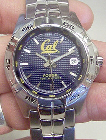 UC CAL Berkeley Bears Fossil Watch Mens Three Hand Date Wristwatch