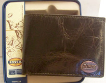 Illinois Illini Fossil Wallet Mens Traveler Brown Leather Billfold